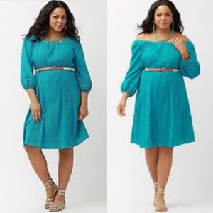Lane Bryant Turquoise Peasant Gauzy Dress 14/16